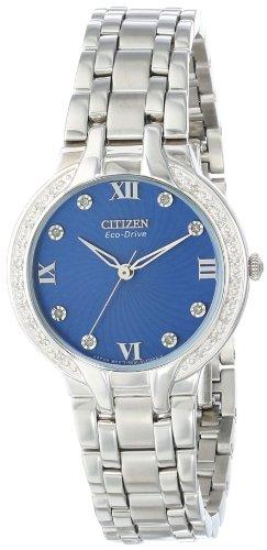 Damen Quarzuhr mit Blau Zifferblatt Analog-Anzeige und Silber Edelstahl Armband EM0120-58L ()