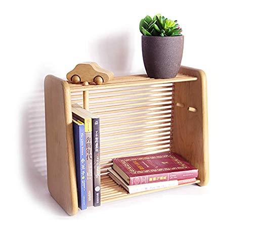 ZMSJ-YJ Desktop Bookshelf Massivholz Tischregal Schlafsaal Einfache Bücherregal Student Bookshelf Holzfarbe