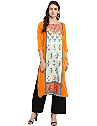 Ziyaa Women's Orange Color Straight Digital Print Kurta (ZIKUCR2339)