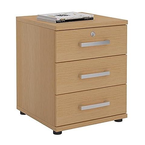 Caisson de bureau YVES couleur hêtre 3 tiroirs poignées