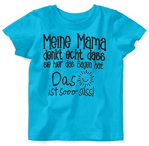 T-Shirt mit Spruch für Jungen Mädchen Unisex Kurzarm Meine Mama Denkt echt | handbedruckt in Deutschland | Handmade with Love, Farbe:Atoll, Grösse:92/98 ()