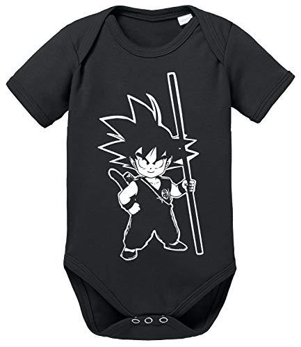 SO Dragon Son Baby Ball Goku Strampler Bio Baumwolle Body Jungen & Mädchen 0-12 Monate, Größe:68/4-6 Monate, Farbe:Schwarz