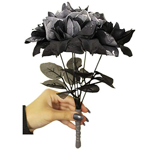 Gothic Kostüm Braut - Schwarzer Rosenstrauß für Kostüme - Gothic schwarze Blume Rose Bouquet Fake Blumen - perfekt für Geister Braut Verkleidung Halloween Kostüme