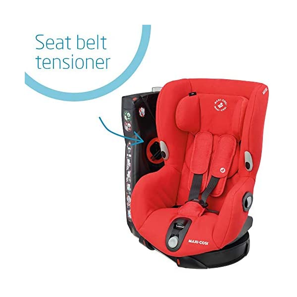 Maxi-Cosi Axiss Swiveling Toddler Car Seat, Extra Secure Fit, Reclining, 9 Months-4 Years, 9-18 kg, Nomad Red Maxi-Cosi 90 degrees swivel to secure the child and take them out more easily Simultaneous harness and headrest adjustment to perfectly fit the growing child Convenient belt hooks keeps the harness open when placing the child in the seat 3