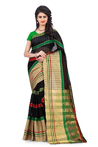 Snapyshopy-Amazing-Black-Colord-Heavy-Cotton-Printed-Saree