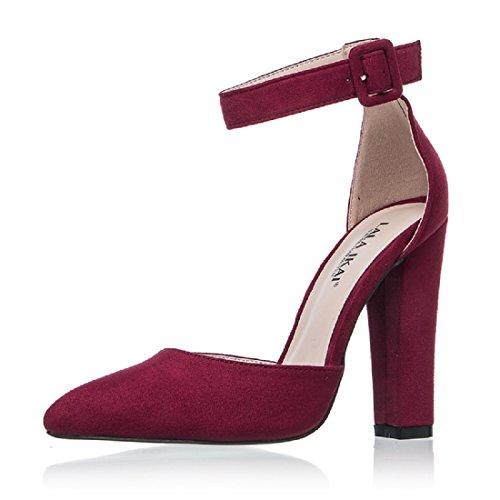 Zapatos de Tacón ancho de Punta Cerrada Clásico y con Hebilla decorativa para Mujer (41 EU, Vino)