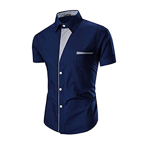 Lanspo Mens Short Sleeve Shirts Casual Formal Slim Fit Shirt Top (M, Blue)