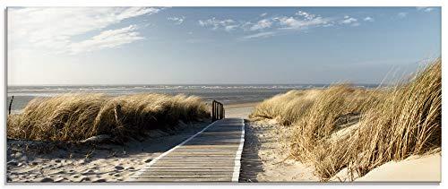 Artland Glasbilder Wandbild Glas Bild 125x50 cm Querformat Natur Landschaft Strand Dünen Sand Meer Himmel Nordsee Steg T5RM