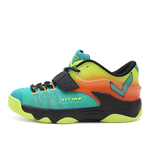 ASHION Sportschuhe der Kinder Jungen Frühling Gitter Breath Student Basketball-Schuhe Big Jungfrau Boy Laufschuhe Grün