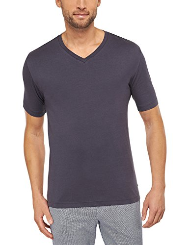 Anspruchsvolle Tagwäsche (Schiesser Herren Schlafanzugoberteil Mix & Relax Shirt Kurzarm, Gr. Large (Herstellergröße: 052), Grau (anthrazit 203))