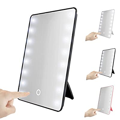 Touch Foldable LED Lighted Vanity Mirror with Light, Oenbopo Smart Touch Kickstand 16LED Lighted Vanity Mirror Makeup Cosmetic Countertop Cordless Table Mirror for Home Travel Office produced by oenbopo - quick delivery from UK.