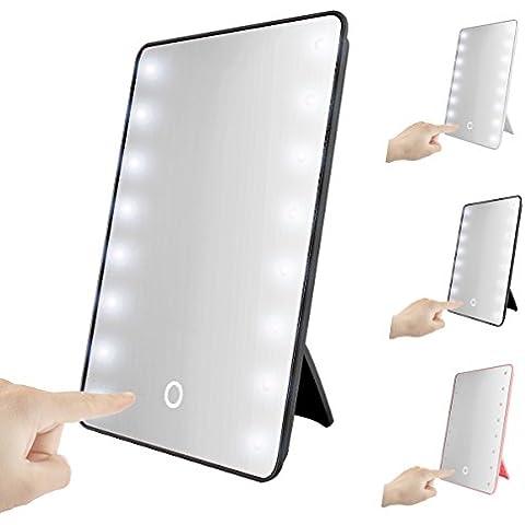 16LED illuminato specchio vanity, SOONHUA portatile touch screen LED specchio cosmetico specchio da tavolo senza fili, funzionamento a batteria nero