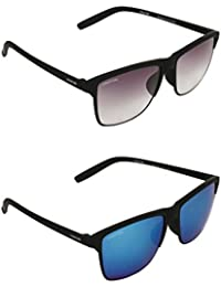 CREATURE Black Wayfarer Unisex Sunglasses Combo with UV Protection (DOIT-001-004, 55, Purple and Blue)
