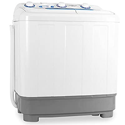 oneConcept DB004 Mini Camping Washing Machine Spin 2 Programmes for Sensitive and Normal Wash Quiet Operation (4.8Kg Load Capacity, 380W / 160W Rinse and Spin Power, Low Consumption) White