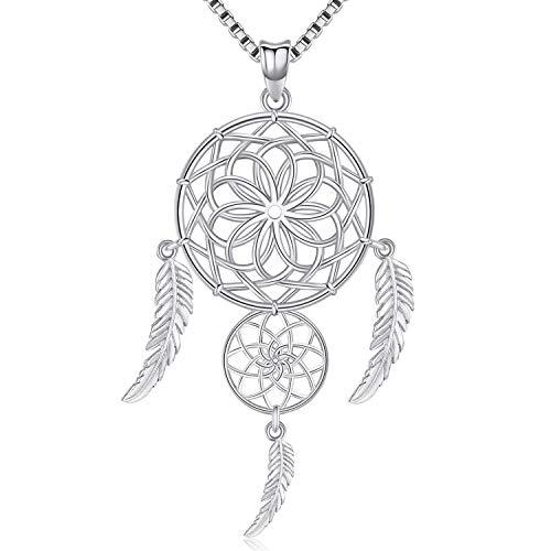 Friggem Zwei Traumfänger Dreifache Federn Sterling Halskette und Anhänger aus Silber mit plattierten Zirkonia für Frauen, Geschenk zum Muttertag -