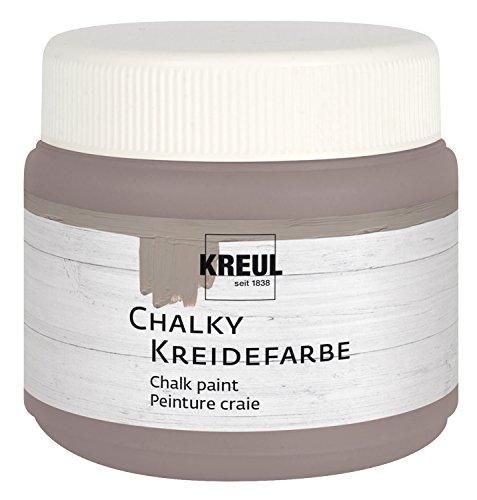 Kreul 75321 - Chalky Kreidefarbe, sanft - matte Farbe, cremig deckend, schnelltrocknend, für Effekte im Used Look, 150 ml Kunststoffdose, Mild Mocca