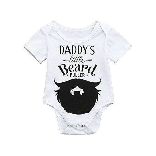 Brief Bart Print Hase Overall Baby Body Brief drucken Jungen Mädchen Outfits Kleidung Strampler mit Daddy's Little Beard Muster ()