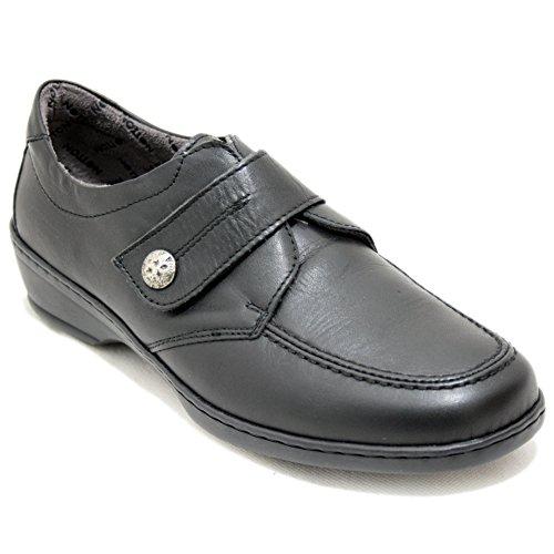 Notton 2381 - Mocasin Negro Clásicos Velcro Ancho
