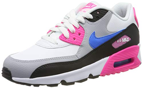 Nike Air Max 90 LTR (GS), Scarpe da Ginnastica Bambine e Ragazze, Bianco (White/Photo Blue/Black/Pink Blast 107), 39 EU