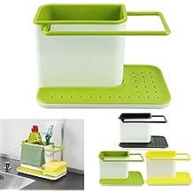 Inditradition 3 in 1 Kitchen Sink Organizer (for Dishwasher Liquid, Brush, Cloth, Soap, Sponge), Plastic, Assorted Color