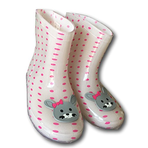 Funky kids wellies - pink polka dots and bunny rabbit face
