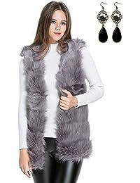 Sitengle Mujeres Chaleco Pelaje Piel Sintética Abrigo Blazers Capa Blusa Capucha Coat Jacket Cardigans Outwear Vest Tops