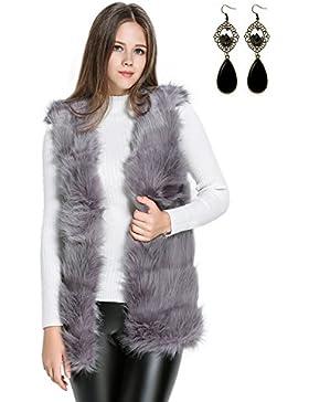 Sitengle Mujeres Chaleco Pelaje Piel Sintética Abrigo Blazers Capa Blusa Capucha Coat Jacket Cardigans Outwear...