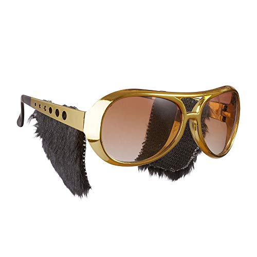Widmann 6733S Rock´n´Roll Brille mit Koteletten, Herren, Gold, One Size (Rock And Roll Motto Kostüm)