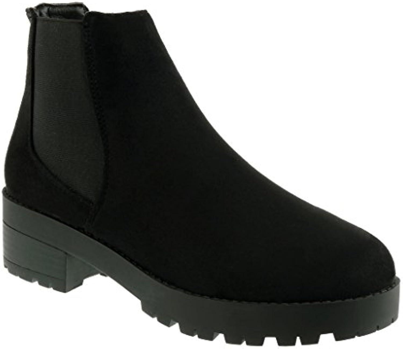 Angkorly - Zapatillas de Moda Botines chelsea boots cavalier zapatillas de plataforma mujer elástico Talón Tacón...
