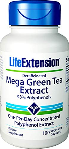 Life Extension, Mega Green Tea Extract (Grüner Tee Extrakt), 725 mg, 100 Kapseln, hochdosiert, Vegetarisch, ohne Gentechnik, 98% Polyphenole