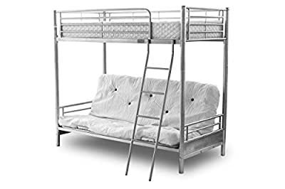 Amani International Twin Sleeper Bunk Bed, Metal, Silver - inexpensive UK Bunkbed store.