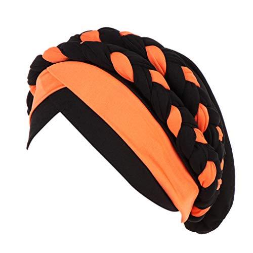 FRAUIT Damen Chemo Beanie Turban Wrap Cap Indien Muslimischer Hut Leichte Rüschen Sommermütze Zweifarbige Scorpion-Baotou-Mütze aus indischer Seidenmütze