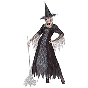 WIDMANN Traje de la Bruja Set Bruja telarañas, Incl. Bruja en tamaño XXL = 50/52 a Halloween, como Hechicera