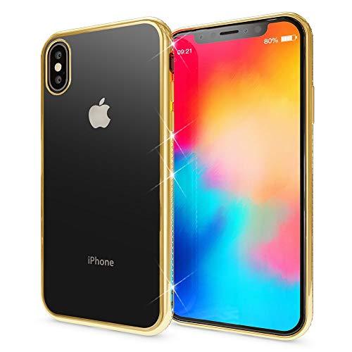NALIA Hülle kompatibel mit iPhone X XS, Dünne Handyhülle Ultra-Slim Silikon Case Transparente Rückseite & Strass Bumper, Crystal Schutzhülle Cover, Backcover Etui Handy-Tasche, Farbe:Gold
