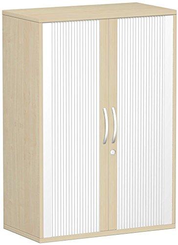 Gera Möbel Schranksystem Flex Querrollladenschrank Holzdekor Silber/ahorn 80 x 42.5 x 118.2 cm -