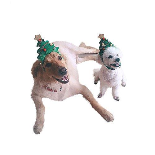 Lager Show Pet Dog Holiday Christmas Hat, Puppy Dog Xmas Tree Form Hat Kostüm Haarband Head Hoop Christmas Kollektion Party Ball Pet Zubehör, S, Green Christmas Tree