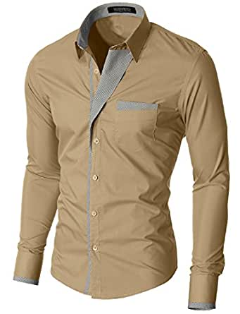 MODERNO - Slim Fit Mode Chemise Homme Manches Longues (VGDS41LS) Beige EU S