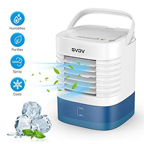 Climatiseur USB avec un Petit Entonnoir - GVDV Mini Ventilateur Silencieux, Refroidisseur D'air Portable, 3 Vitesses Différentes, Parfait pour Bureau Maison