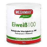 Megamax Eiweiss Vanille 750 g   Molkenprotein + Milcheiweiß   2K Protein Für Muskelaufbau und Diaet l Shaker aspartamfrei glutenfrei Low Carb 