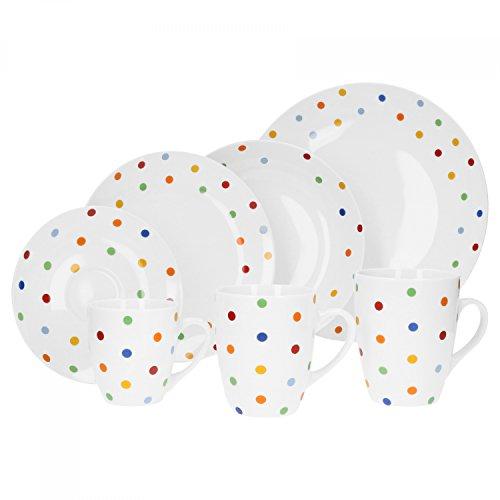 Van Well Porzellan 6er Geschirr-Set Serie Capri | weiß mit Dekor | Artikel wählbar
