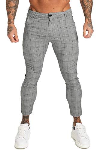 GINGTTO - Pantalón - Hombre Gris 29 Leg - Grey Plaid