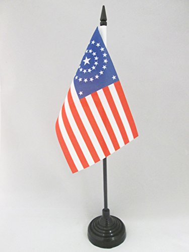 DRAPEAU DE TABLE USA ÉTOILES EN ROND 15x10cm - PETIT DRAPEAUX DE BUREAU AMÉRICAIN - ETATS-UNIS 10 x 15 cm - AZ FLAG