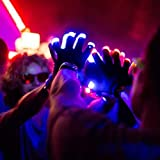 PETLESO® Flashing Handschuhe Glow 7 Modus LED Rave Licht Finger Beleuchtung Mitt Black Black Handschuhe mit LED