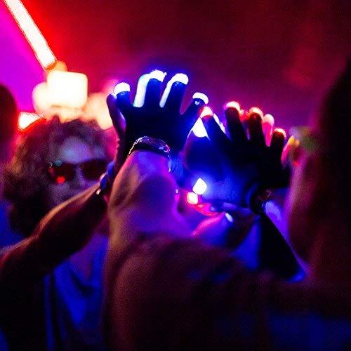 PETLESO® Flashing Handschuhe Glow 7 Modus LED Rave Licht Finger Beleuchtung Mitt Black Black Handschuhe mit LED (Rave Leichte Handschuhe)