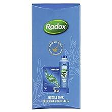 Radox Muscle Soak, rilassamento terapeutico per uomini, donne e bambini, set regalo per doccia e bagno, regalo per le famiglie per una fragranza pulita e rinfrescante