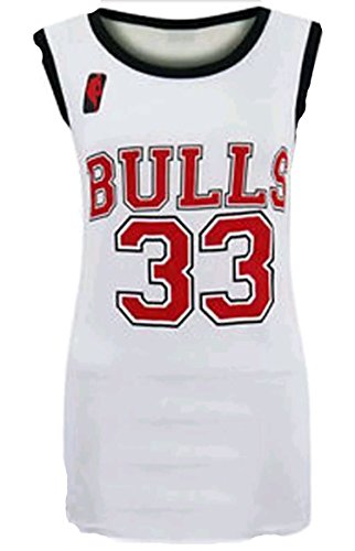 Fashion Essential-Womens Bulls 33 Basketball Style Chicago American Vest Top (SM, WHITE)