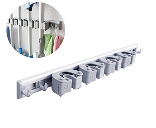 F G Y Mop Broom Holder Organizer with 4 Sliding Grippers
