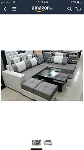 QUALITY ASSURE FURNITURE Maharajah-P L Shape Sofa Set with Center Table and 2 Puffy (Standard Size, Cream and Grey)