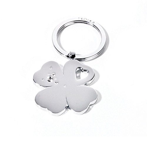 troika-porte-cles-trefle-girls-best-friends-clover-chrome-brillant-cristaux-swarovski