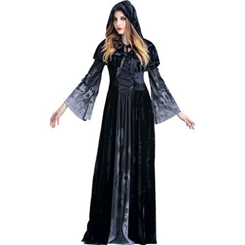 LIUXIN Halloween Neue Schädel Print Hexe Lange Vampir Kleid Queen Kostüm mit Kapuze Kleid (Color : Black, Size : XL) (Xl Böse Sexy Queen Kostüm)